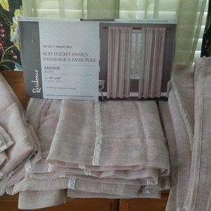"4 Panels 38""  84"" Textured Linen Blush Curtains"